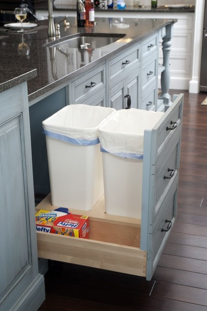 Kitchen Cabinet Drawers Trash Recycle