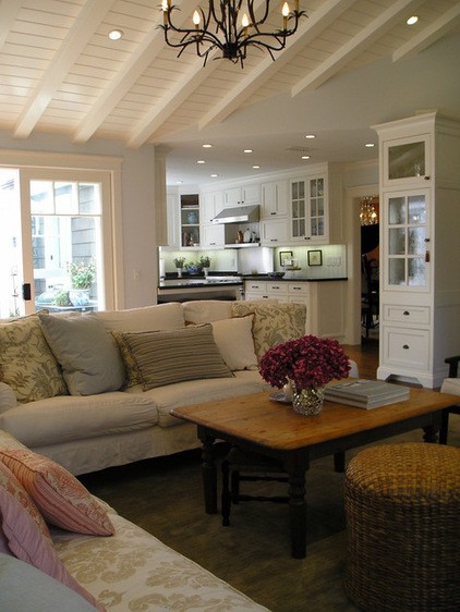White Tongue Groove Plank Ceilings White Beams Kitchen Living Room