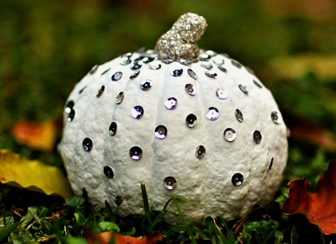 Sequin Studded Pumpkin Halloween DIY
