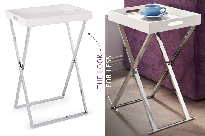 White Lacquered Bar Tray Table Chrome X Base Legs