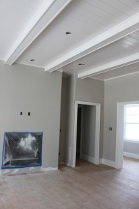 White Tongue Groove Beams Ceiling