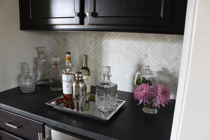 Mixed Metals Bar Marble Herringbone Backsplash Carrara Asian Statuary Black Leathered Granite Countertops Cabinets