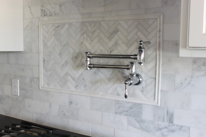 Herringbone Backsplash Carrara Marble Asian Statuary Chrome Pot Filler