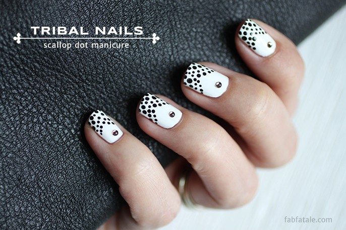 Black White Scallop Dot Tips With Bronze Gemstone Nails Fab Fatale