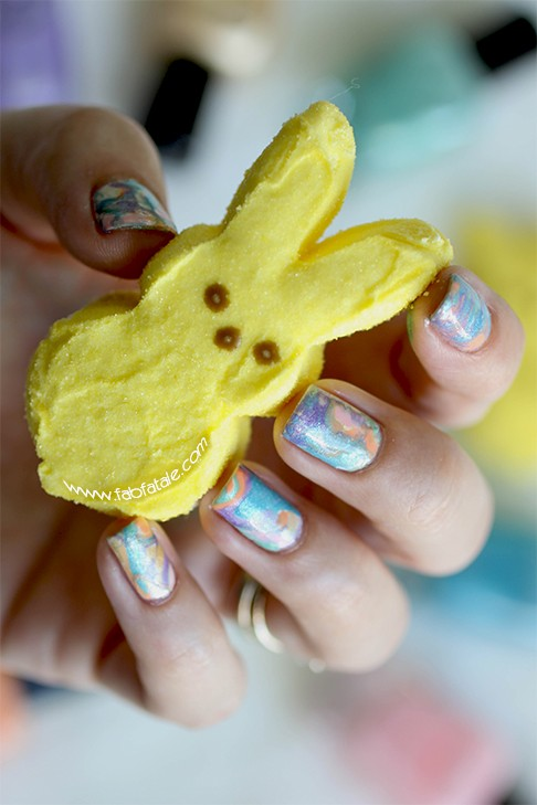 Easter Manicure Tie Dye Water Marbelling Easter Nails