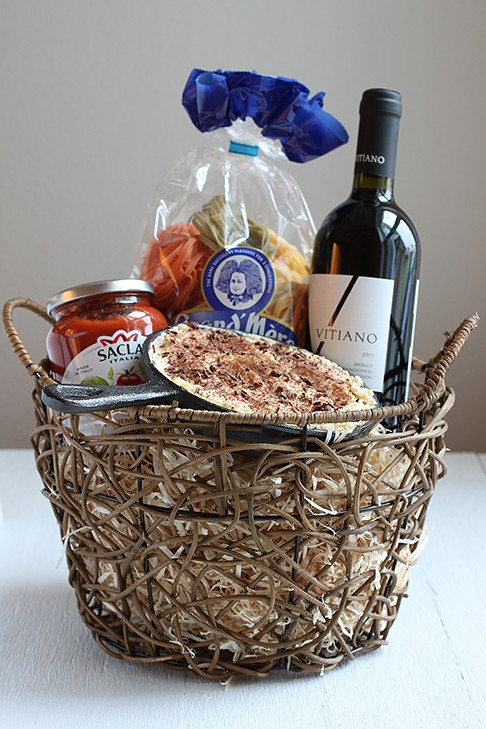 Housewarming Welcome Basket - Italian Dinner with Wine, Tiramisu Dessert, Frying Pan, Spaghetti, and Sauce