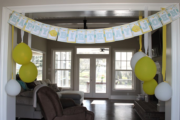 Lemonade Birthday Party Smash Cake Invitations Favors Cookies Cake Flag Banner Printables Fabric Bunting