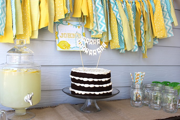 Lemonade Birthday Party Smash Cake Invitations Favors Cookies Cake Flag Banner Fabric Bunting