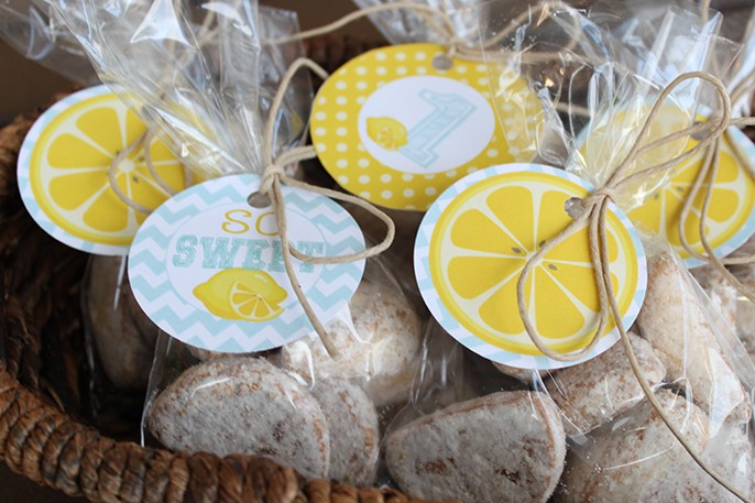 Lemonade First Birthday Party Cookie Favors