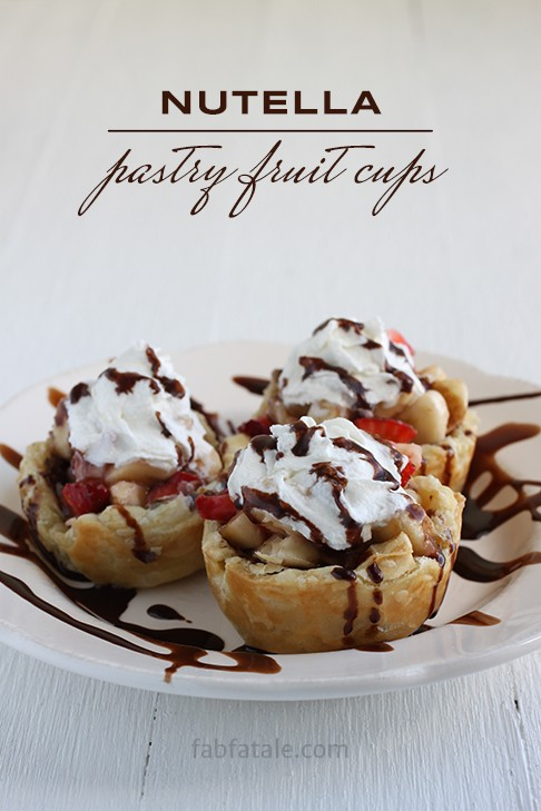 my all time favorite desert, my husband begs for it - nutella, fruit, strawberries, bananas, whip cream, chocolate sauce, crepes, puffed pastry