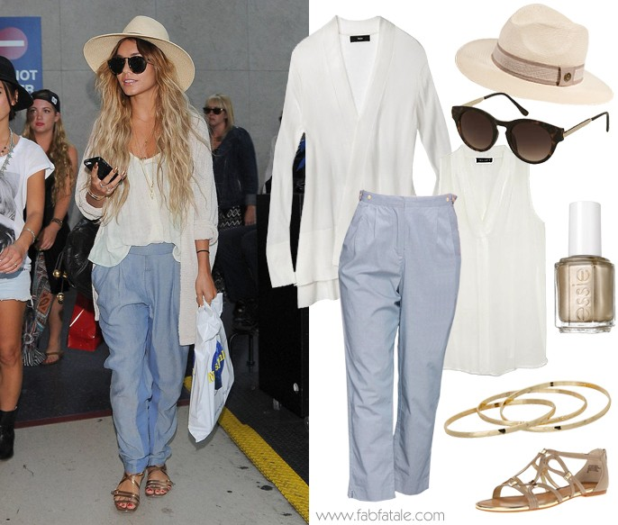 Vanessa Hudgens Look For Less Airport - Blue Pants, Ivory Cardigan, V-Neck Tee, Wide Brim Fedora, Gold Strappy Sandals, and Oversized Sunglasses