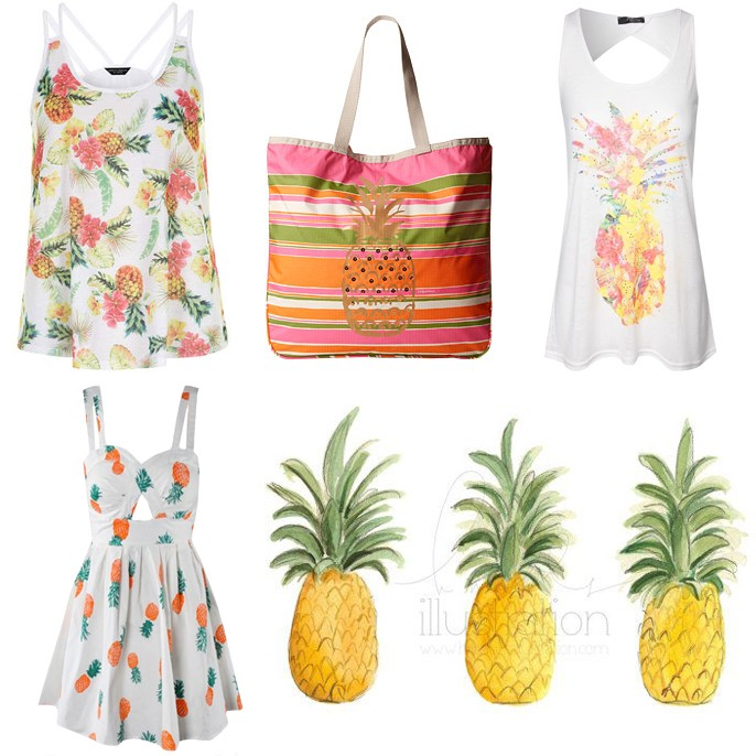 Pineapple Trend Summer 2014 Fashion Art Print Dress Tank Top