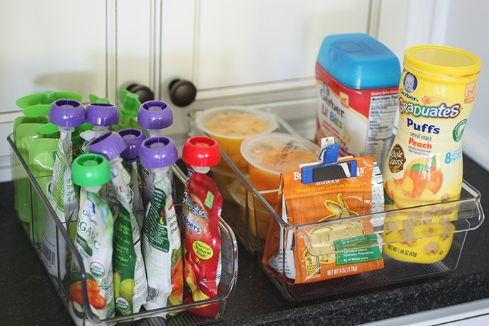 Baby Food Clear Plastic Divided Cabinet Organizer - Perfect For Squeeze Pouches