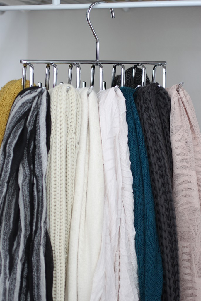 Chrome Closet Scarf Hanger Organizer - Also For Ties And Belts