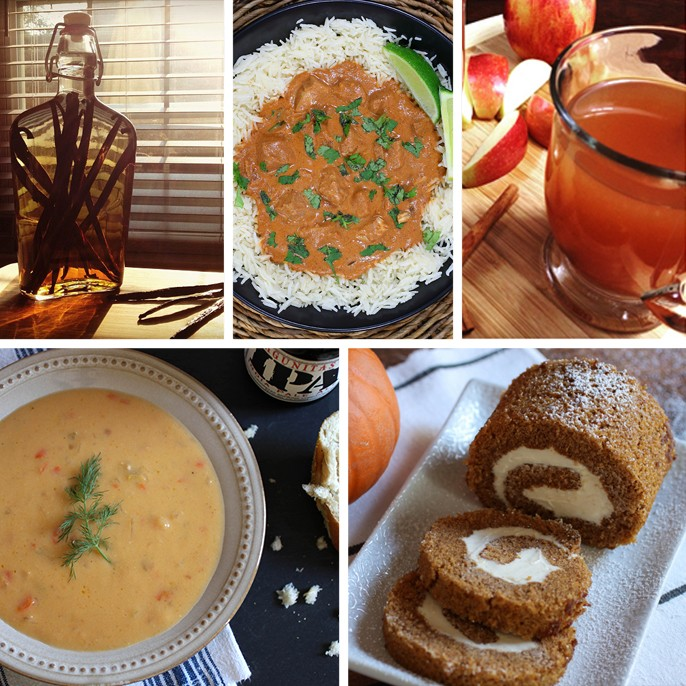 Fall Recipes DIY Vanilla Slow Cooker Chicken Tiki Masala Homemade Apple Cider Beer Cheese Soup Pumpkin Cream Cheese Rollup Bread