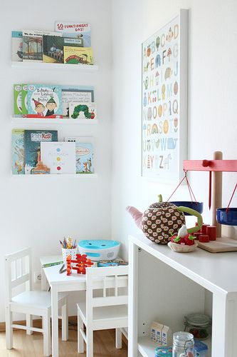Kid Room Bookshelves Reading Corner Table Chairs