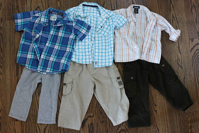 Moxie Jean Toddler Boy Plaid Button Down Top and Cargo Pants