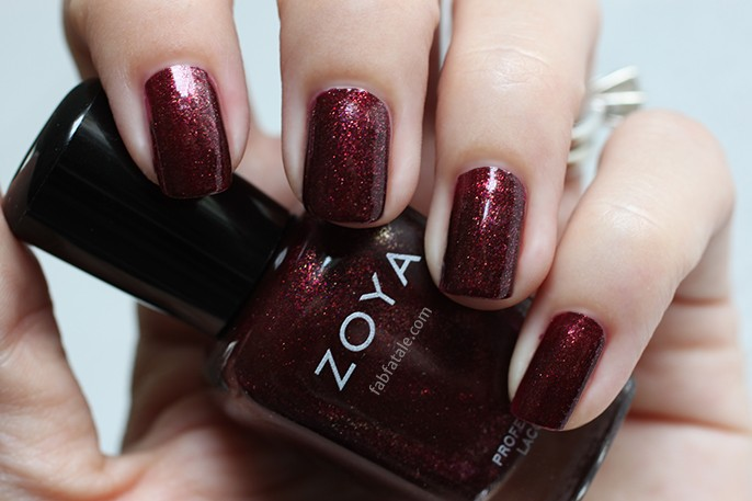 Zoya Ignite India Dark Red Garnet Glitter Shimmer Nail Polish