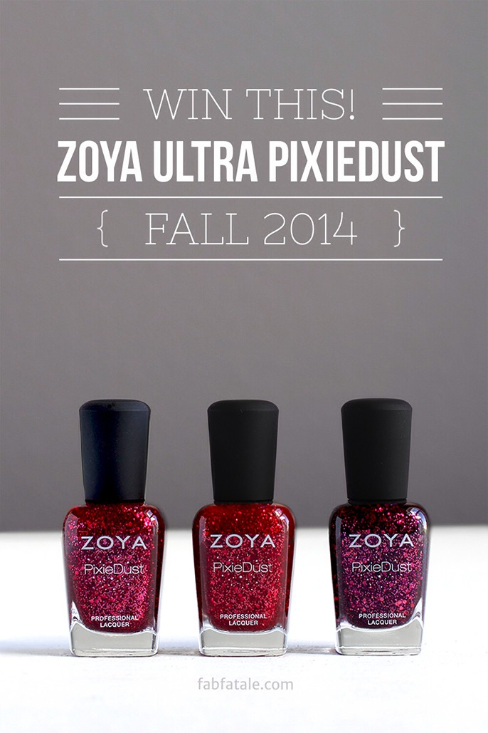 I just entered to win the newly released Zoya Ultra PixieDust Fall 2014 collection at http://www.fabfatale.com/2014/09/zoya-ultra-pixiedust-fall-2014-swatches/ #zoya #zoyaultrapixiedust #giveaway