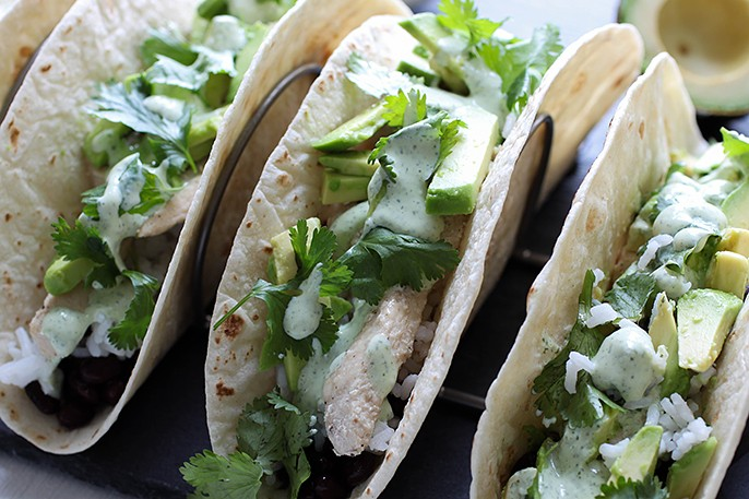California Tacos With Cilantro Cream Sauce