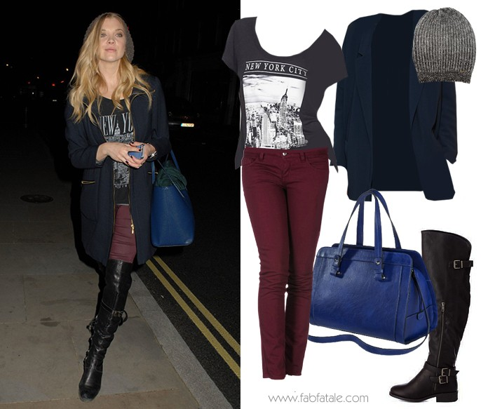 Natalie Dormer Fall Look For Less - New York Graphic Tee, Maroon Skinny Jeans, Over The Knee Buckle Boots, Blue Satchel Handbag, Blue Coat Blazer