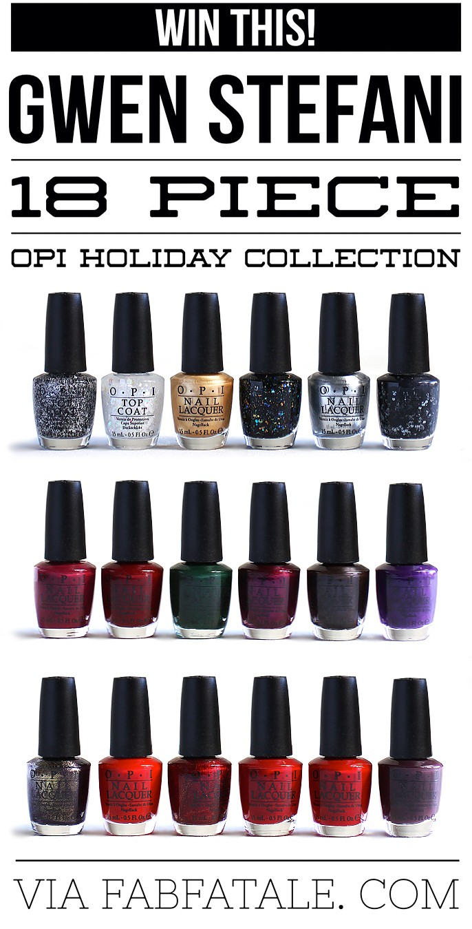 I just entered for a chance to win the newly released OPI Gwen Stefani 18 piece holiday nail polish collection at http://www.fabfatale.com/2014/10/gwen-stefani-opi-holiday-collection/ #opi #gwenstefani #giveaway