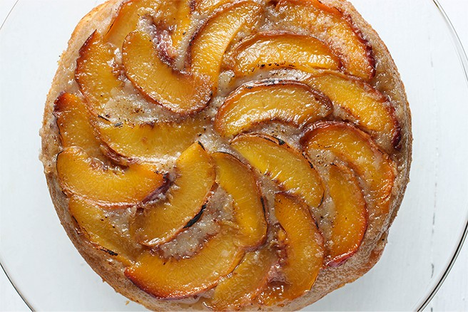 Peach & Bourbon Upside Down Cake