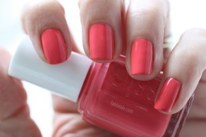 Essie Holiday Winter Swatches Bump Up The Pumps Coral Pink Nail Polish