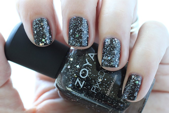 Zoya Imogen Black PixieDust Nail Polish Swatch Holiday Winter Wishes