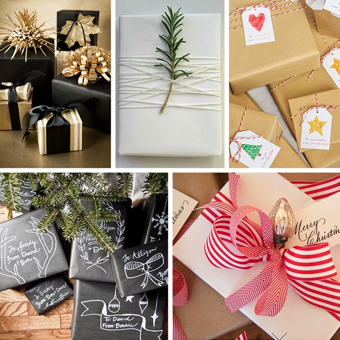 Christmas Gift Wrap Ideas Brown Kraft Paper Candy Cane Twine Chalkboard Wrapping Paper Black Gold Rosemary Holly Branch Jingle Bell Red White Stripe Bow