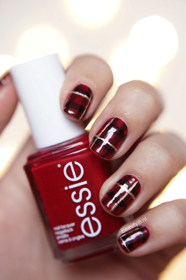 Red, Gold, and Black Christmas Tartan Plaid Manicure