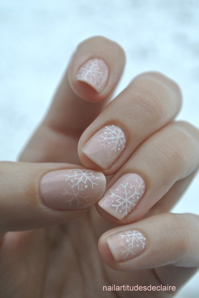 Pink & White Snowflake Jelly Manicure