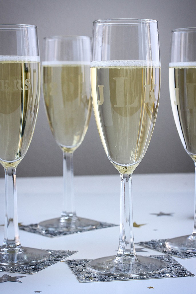 DIY Etched Monogrammed Champagne Glasses Wedding Favor