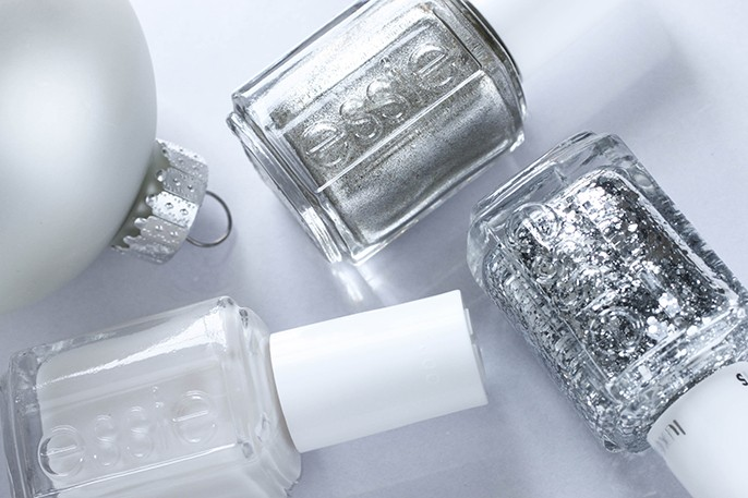 Essie Holiday Christmas Nail Art Manicure Tuck It In My Tux Jiggle High Jiggle Low Luxe Effects Set In Stones Silver Glitter Nail Polish
