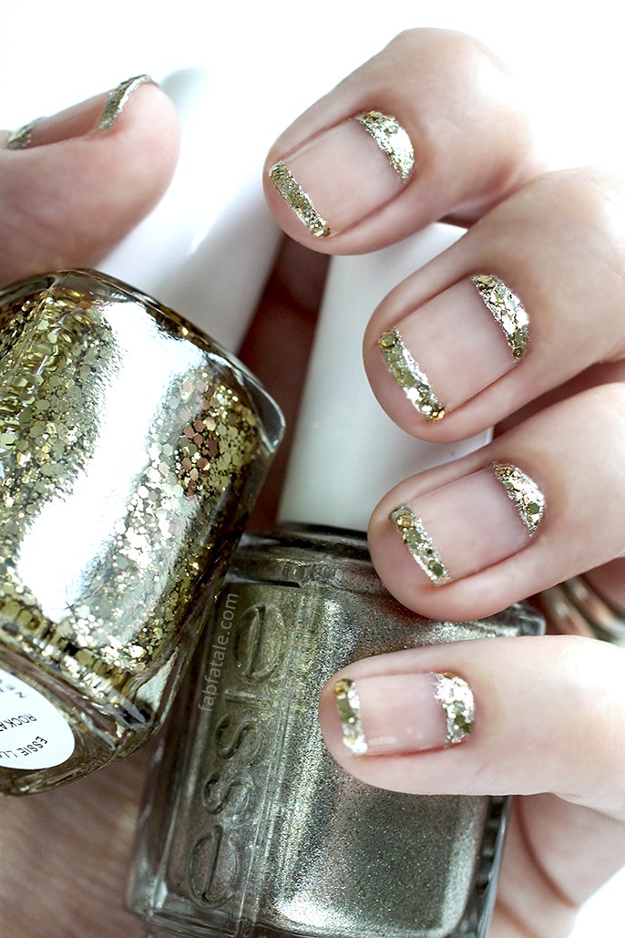 Manicure mondays gold encrusted french and moon fab fatale essie rock at the top jiggle hi jiggle low cut out negative space holiday christmas manicure prinsesfo Gallery