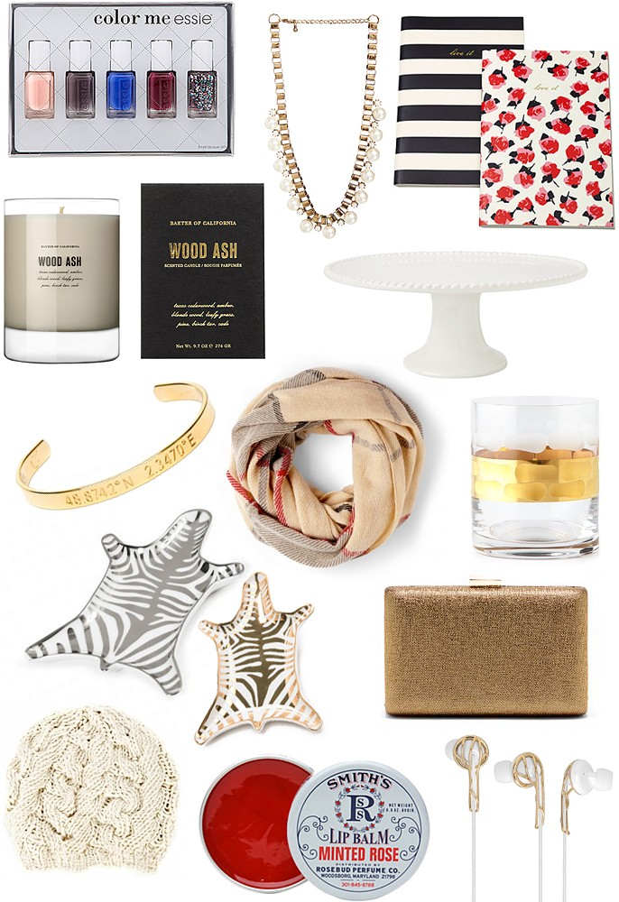 Holiday Gift Guide - Essie Nail Polish, Pearl Chain Link Necklace, Kate Spade New York Notebook, Wood Ash Soy Candle, White Beaded Cake Plate, Plaid Infinity Blanket Scark, Legends Gold Cuff Bracelet, Michael Wainwright Truro Gold Double Old-Fashioned Glass, Jonathan Adler Zebra Dish Tray in Silver and Gold, Gold Metallic Clutch, Cable Knit Beret Hat, Smith's Minted Rose Lip Balm, Ella B White and Gold Headphones