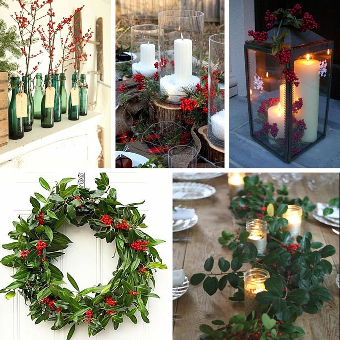 Holly Decor Decorating Vase Bottles Mantle Candle Wreath Table Tablescape Lantern DIY