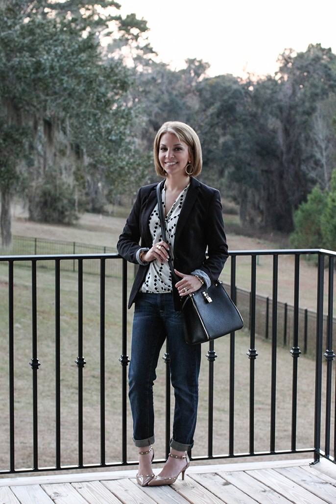 outfit of the day - black and white diamond drape blouse, black blazer, nude studded pumps, and dark skinny jeans