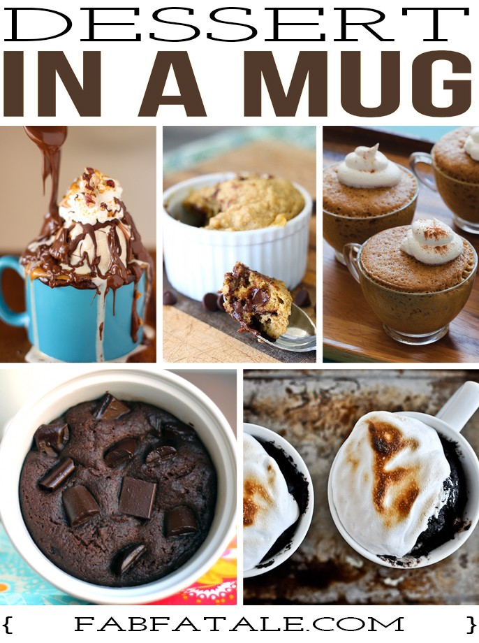 decadent and super easy dessert in a mug recipes - chocolate caramel sundae, chocolate chip cookie, espresso cake, brownie,  smores