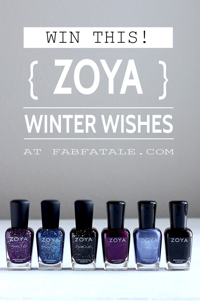 I just entered for a chance to win the Zoya Winter Wishes nail polish collection at http://www.fabfatale.com/2015/01/zoya-winter-wishes/ #zoya #zoyawishes