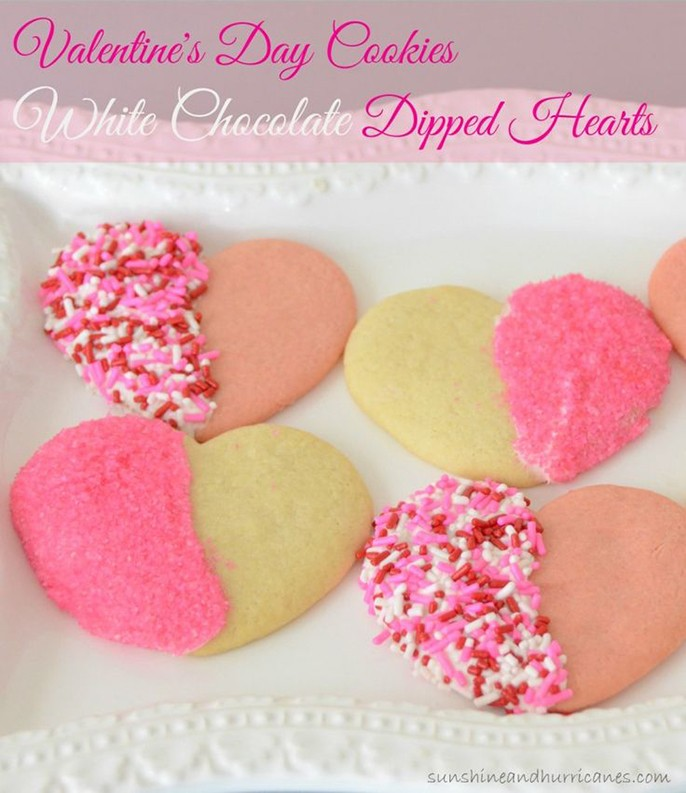 Toddler Valentines Day Cookies Heart Dipped Sprinkles