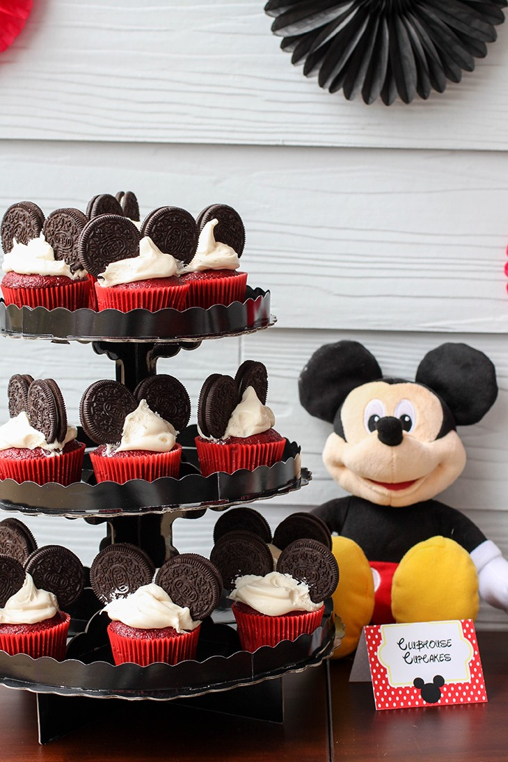 Mickey Mouse Red Velvet Birthday Cupcakes with Oreos Ears