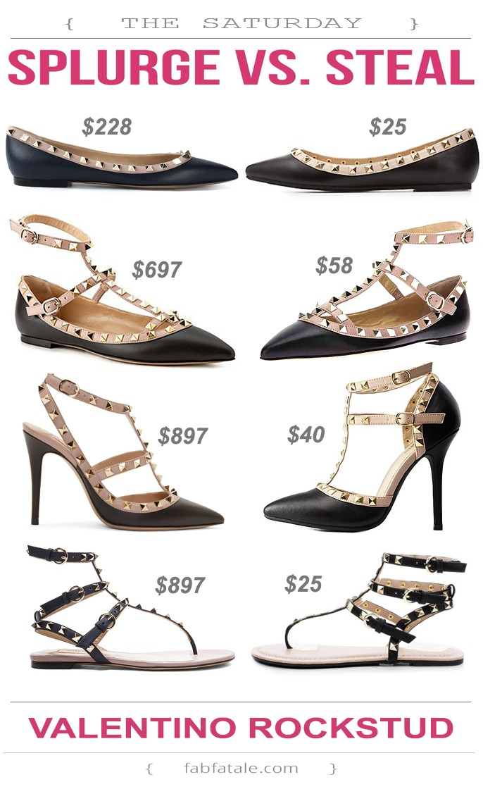 i found a look for less of every studded sandal in the Valentino Rockstud collection, including the ballerina pointed to flats, cage flats, cage heels, and gladiator sandals!