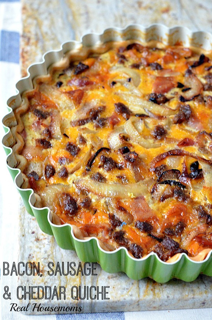 Bacon Sausage Cheddar Quiche Recipe