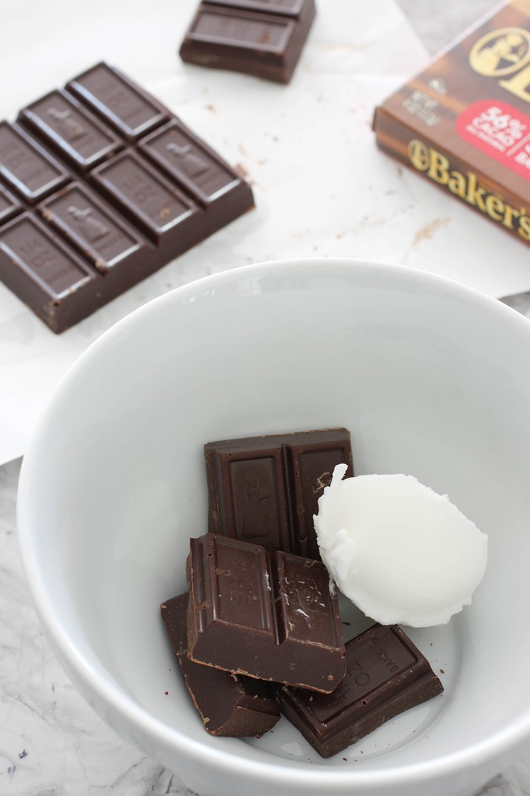 Melt chocolate with shortening in the microwave