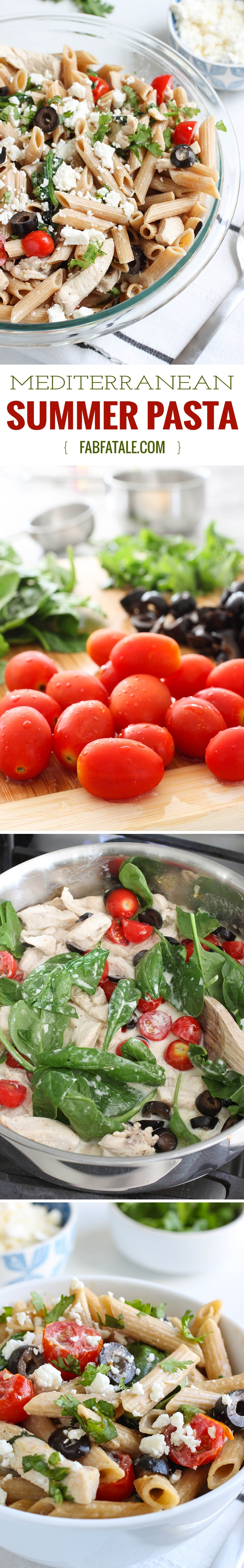 Mediterranean Pasta - whole wheat penne pasta, spinach, grape tomatoes, black olives and cilantro in a light cream sauce make this recipe super fresh for summer.