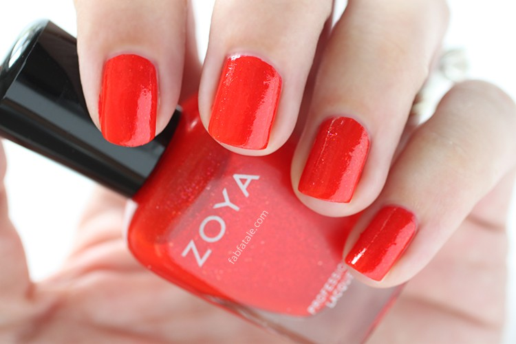 Zoya Paradise Sun Swatches Aphrodite Red Shimmer Nail Polish