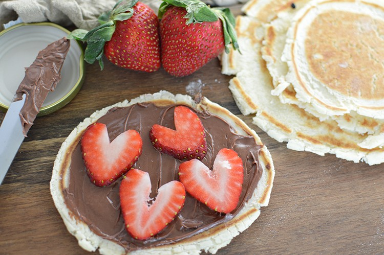 Valentine's Day Strawberry Nutella Pancakes - Fab Fatale