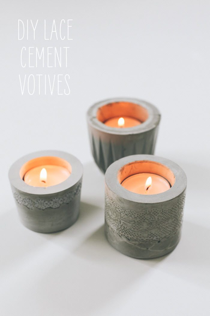 5 pretty little concrete diy crafts - cement votive, tray, gold jewelry, planter