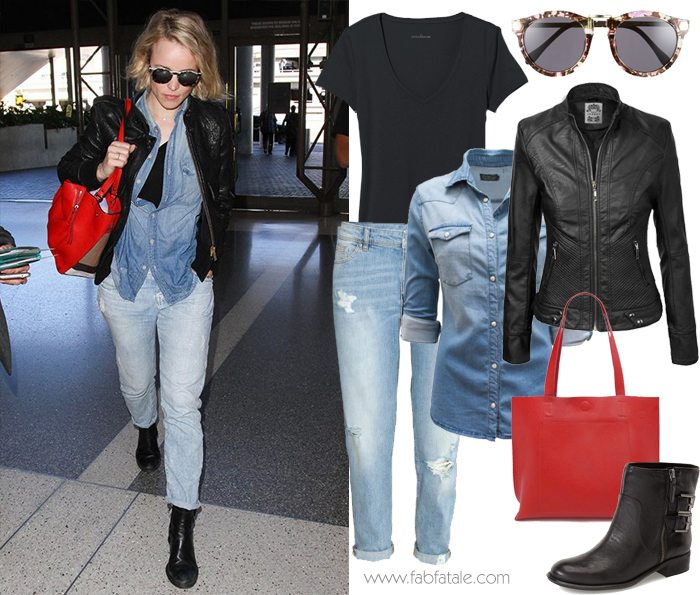 Rachel McAdams Airpot Style - Destroyed Loose Jeans, Chambray Top, Leather Jacket, Red Satchel